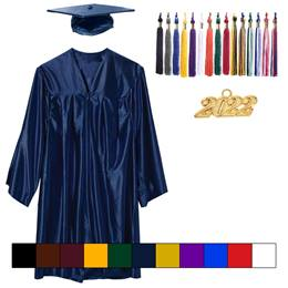 Adult Graduation Cap, Gown, & Tassel - Shiny